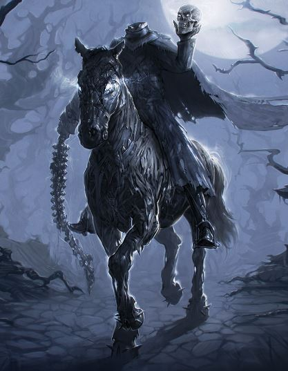illustration of headless horseman holding skull and a whip made from a spine