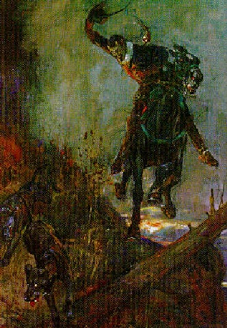 painting of man riding horse with dog in front