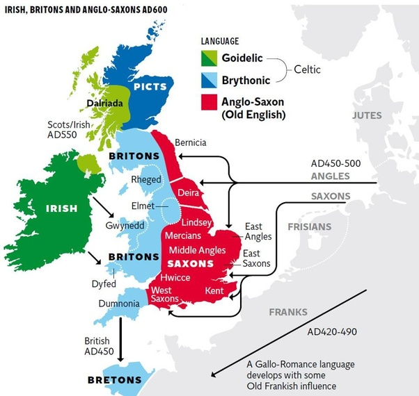 map of Ireland and Great Britain showing Celtic origins of
