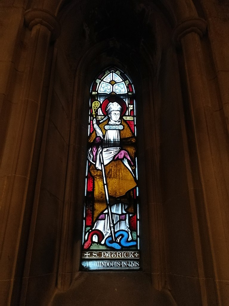 photo of stained glass window depicting St. Patrick