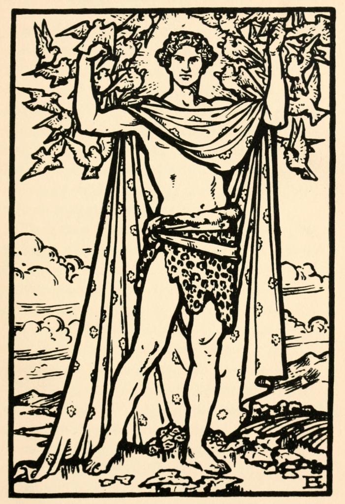 Illustration of Aengus Óg, Irish god of love