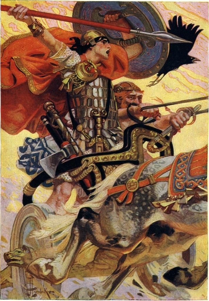 irish warrior in chariot wielding spear