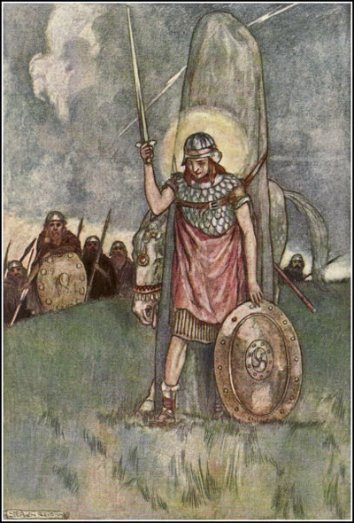 Irish warrior holding sword