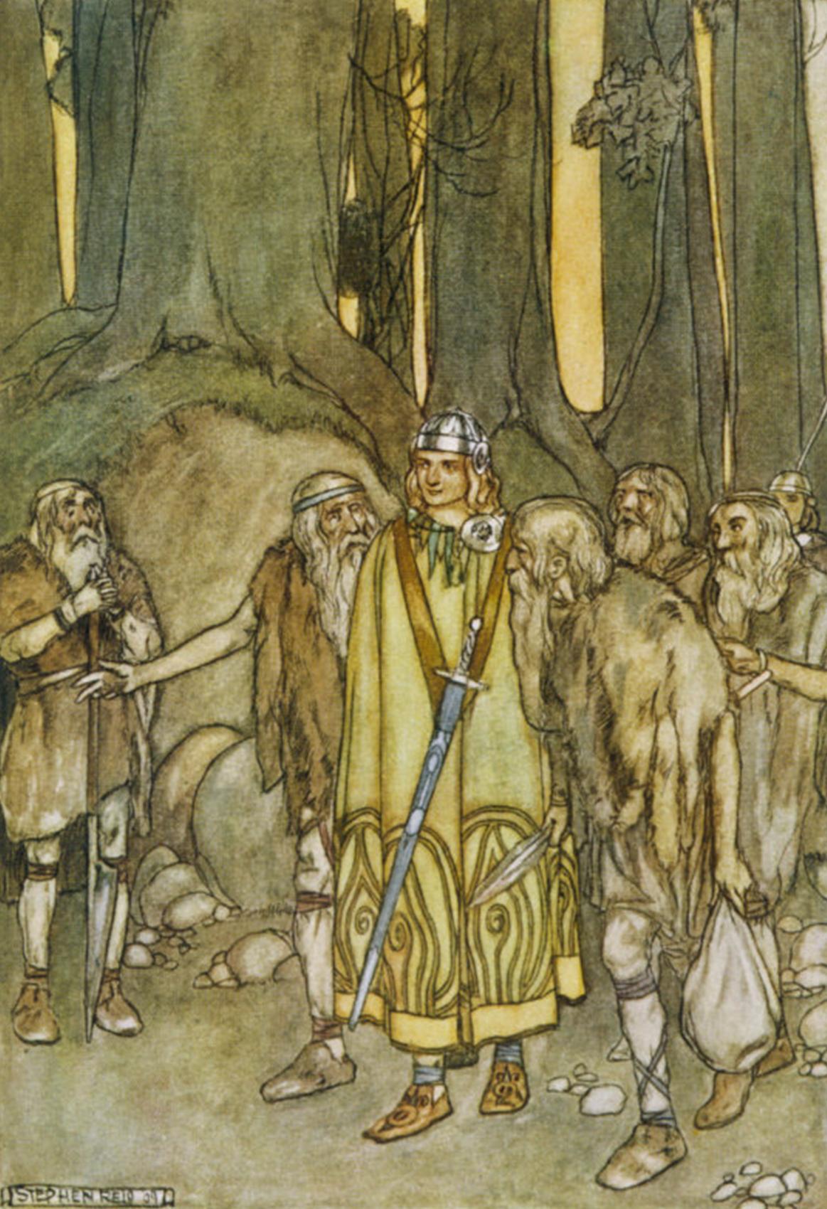 Irish hero Fionn with sword