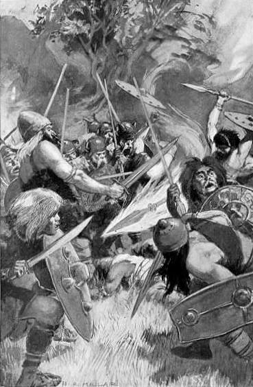 flaming spear flying through battlefield
