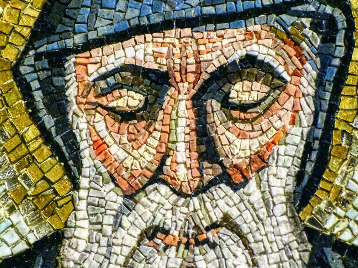 mosaic showing the face of st. patrick with eyes closed