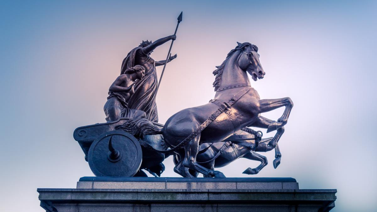 photo of a statue showing Celtic warriors in chariot