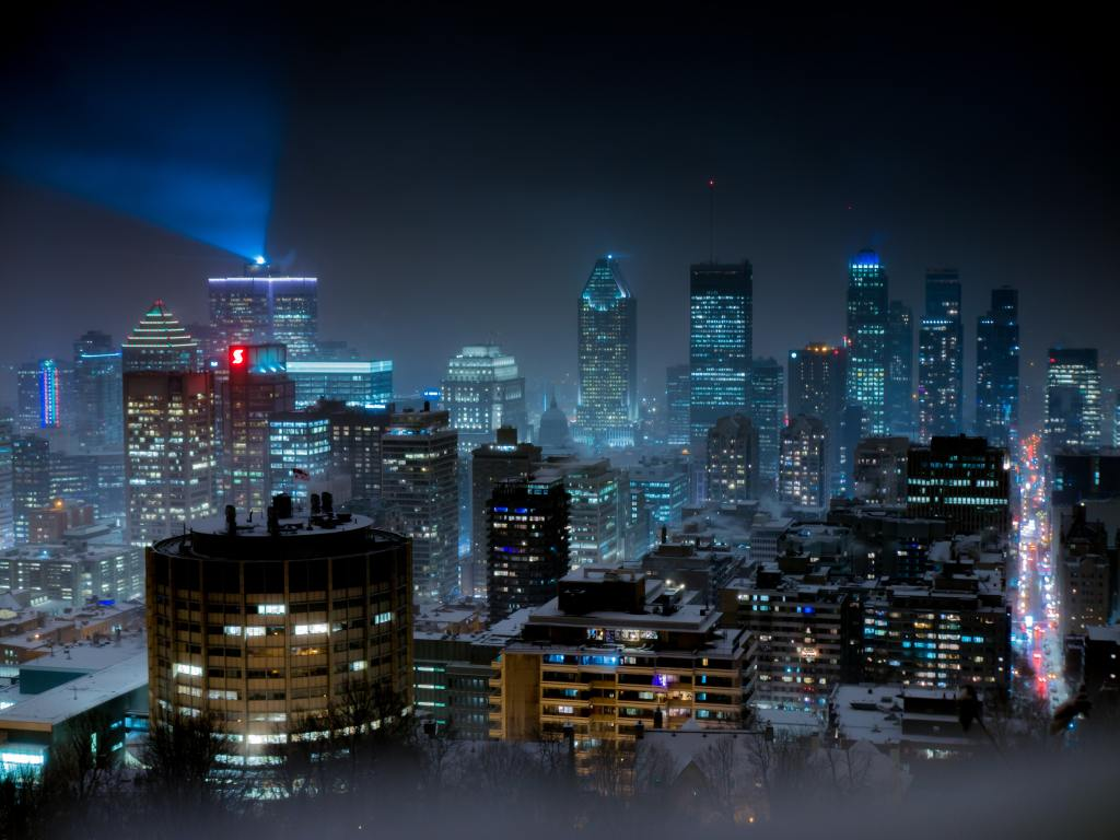 photo of downtown Montreal skyline at night