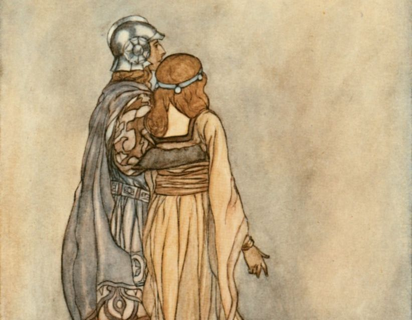 painting of Étaín and Midir embracing