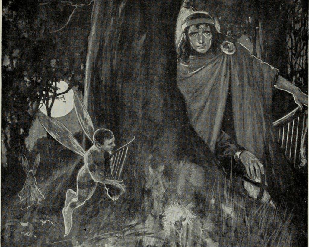 illustration of the Irish god, the Dagda, retrieving his harp from the evil Fomorians