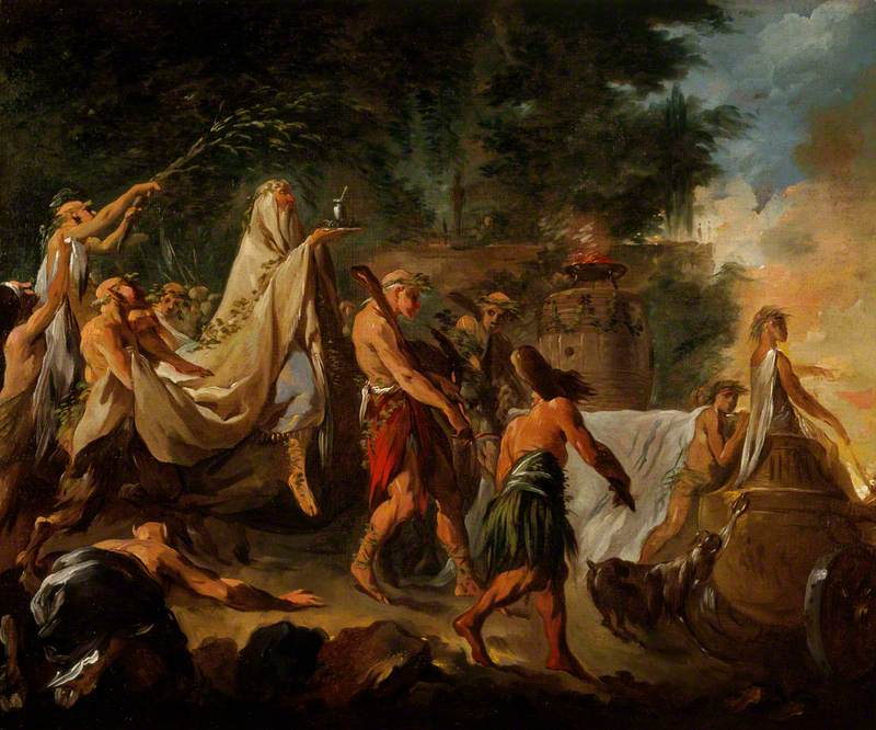 painting of a druid in white robes being led in a procession