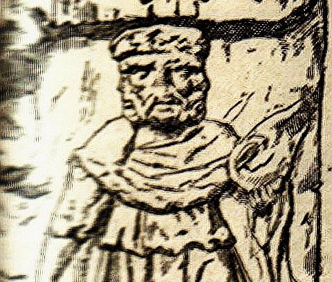 engraving of the Irish god Lugh, shown with three faces
