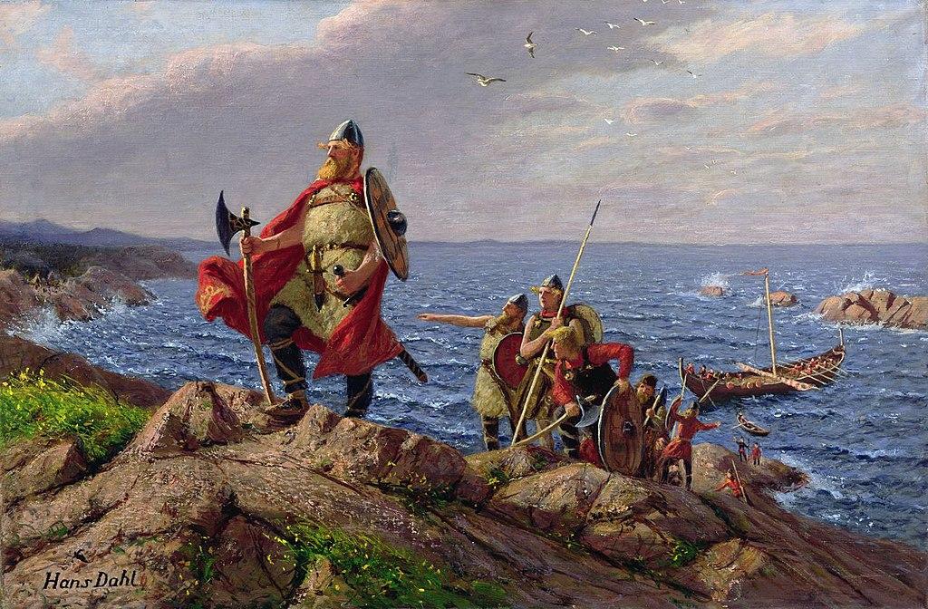 an illustration of Vikings landing on a shore