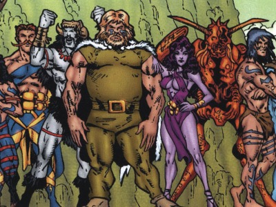 comic book illustration of Celtic gods