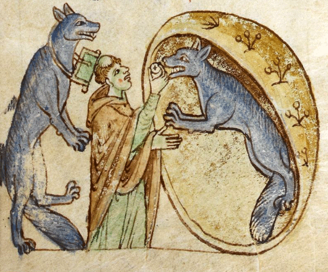 medieval illustration of werewolves receiving the sacrament from a priest
