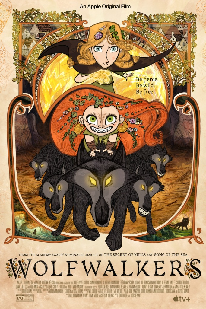 poster showing two girls and a pack of wolves