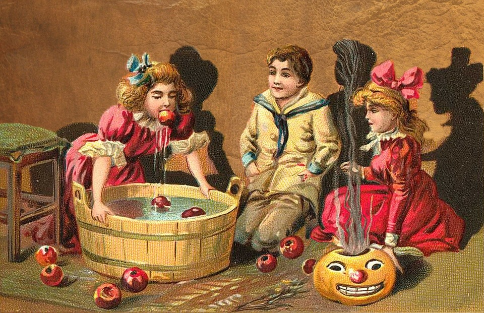 illustration of children sitting around a barrel full of apples floating in water