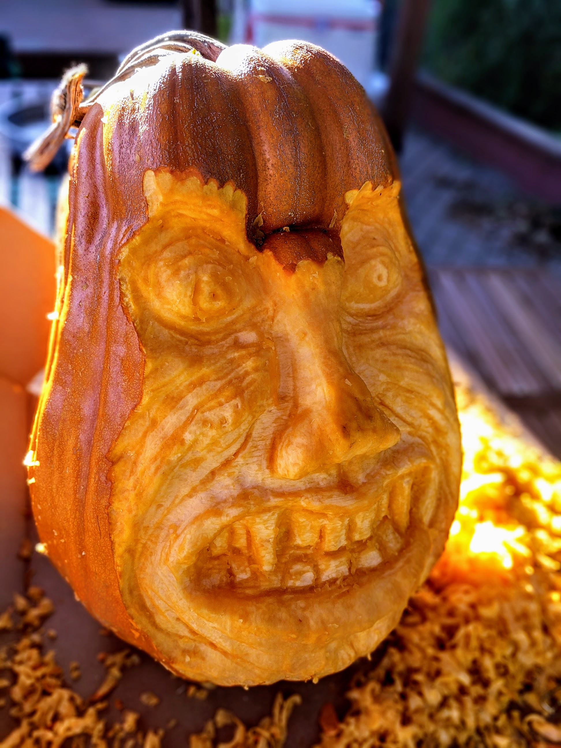 faced carved in a pumpkin