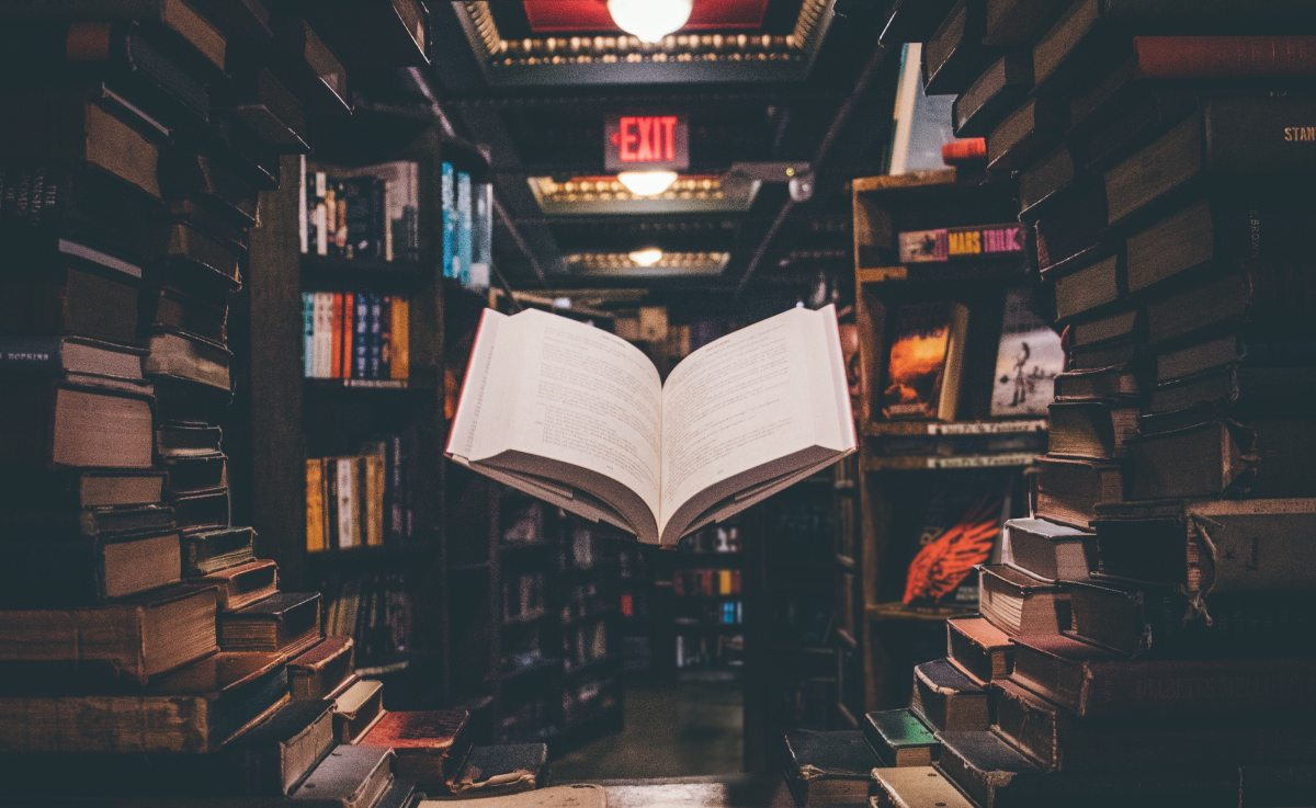 photo of book floating in library