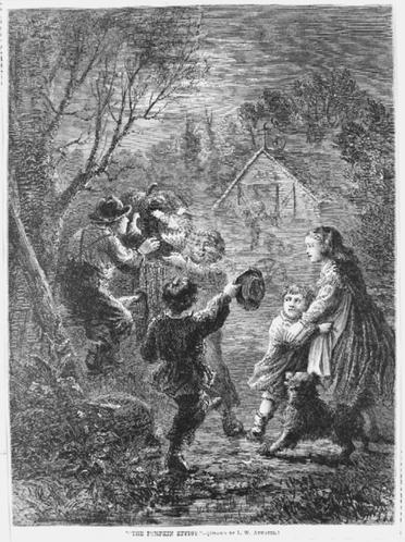 black and white illustration of children holding a jack-o'-lantern