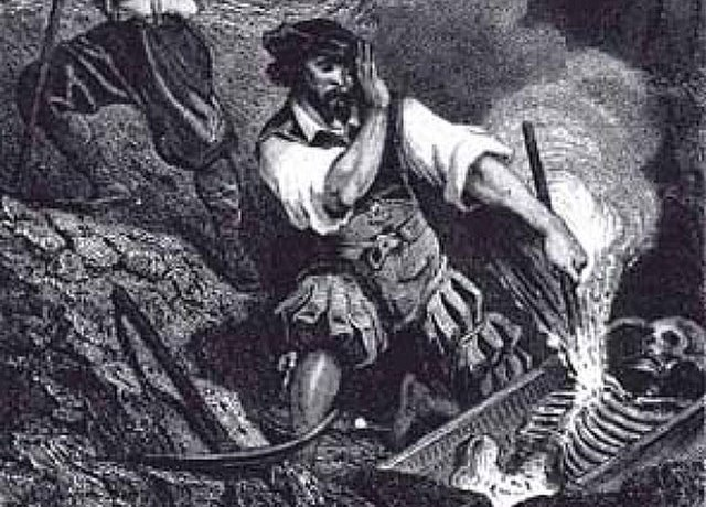 black and white image of man putting a stake through a vampire's heart